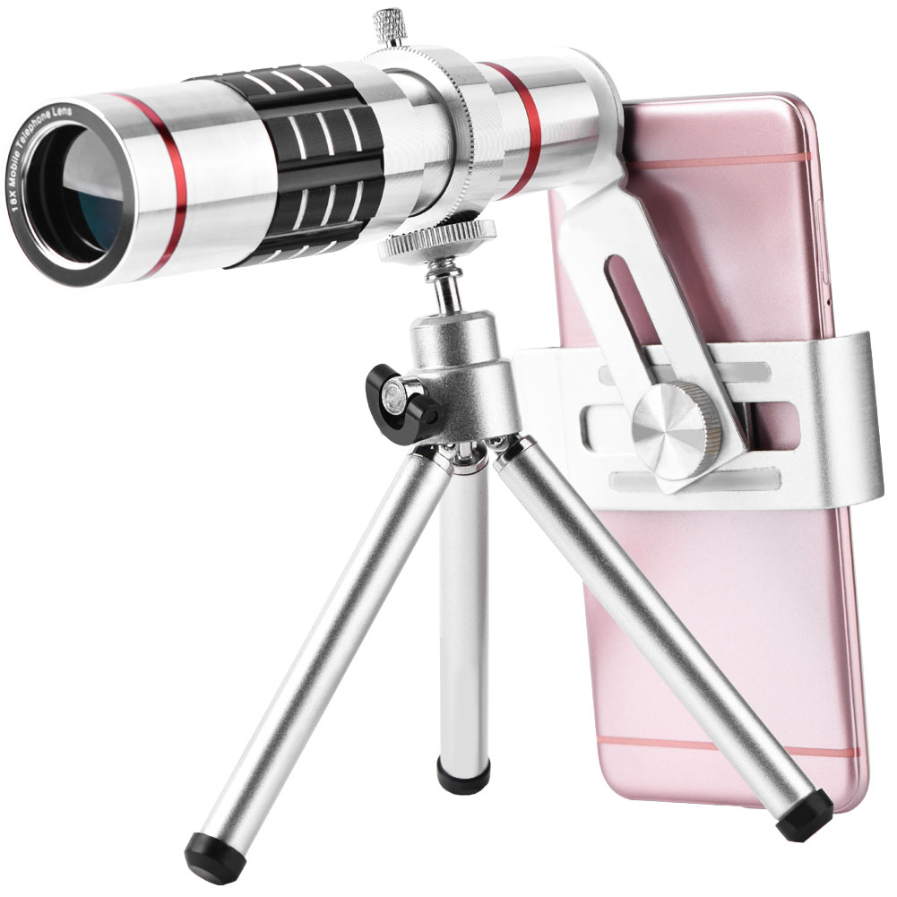 Cell Phone Camera Lens Kit Universal 18X Optical Zoom Telephoto Telescope Lens with Tripod,telescope lens, universal telescope lens