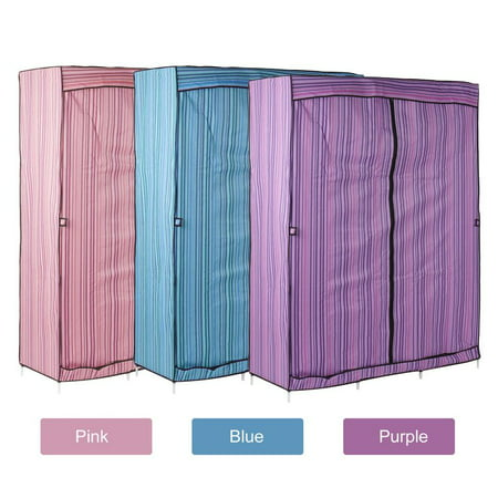Double Hanging - Double Triple Canvas Folding Close Wardrobe Cupboard Hanging Clothes Storage