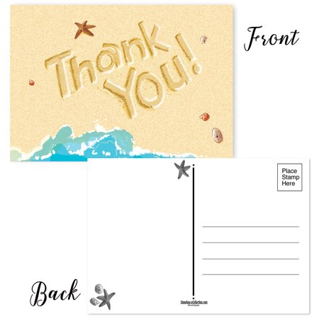 Beach Thank You Postcards - 50 Thank You Cards - 4 x 6 inches -  Just add a (Beach Postcards Package)