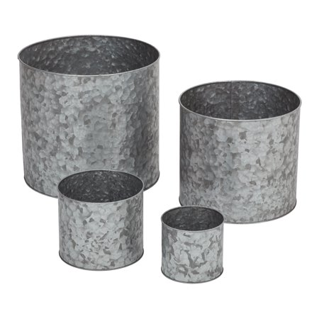 Mainstays Massey Galvanized Metal Planters, Set of Four (Hexagon Planter Set)