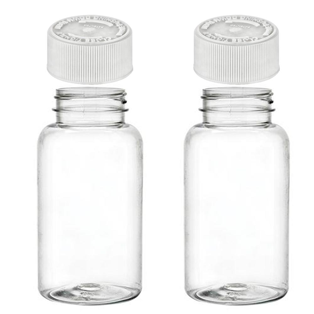 2 Empty Plastic Pill Bottles Cap Medicine Container Vitamin Capsule Case Holder