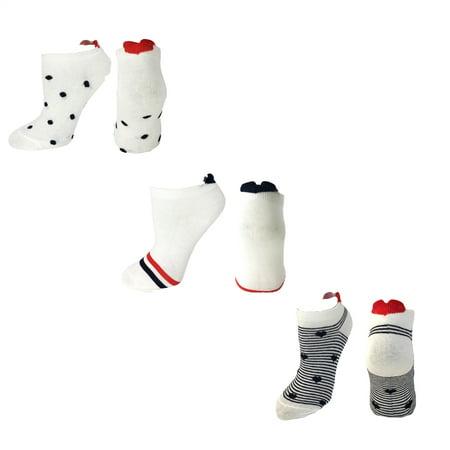Fashion Culture Hearts Dots & Stripes Peds Socks 3 Pair Set, One -