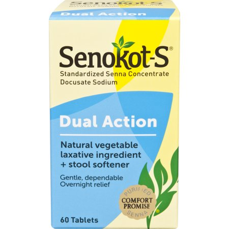 Senokot-S Dual Action, 60 Count, Natural Vegetable Laxative Plus Stool Softener, Gentle Dependable Overnight Relief of Occasional