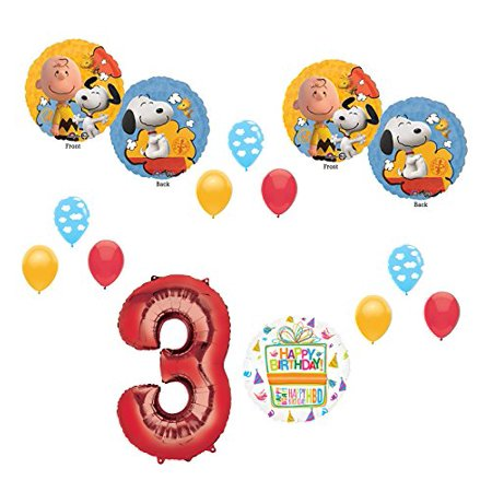 Charlie brown and Snoopy Peanuts 3rd Birthday Party Supplies and Balloon Bouquet Decorations