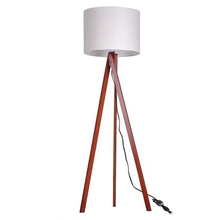 ghp nordic style beige lampshade walnut tripod stand foot switch 57 floor lamp shade. Black Bedroom Furniture Sets. Home Design Ideas