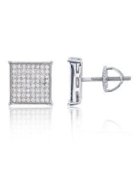 Sterling Silver 8x8 Square Micropave Screwback Stud Earrings