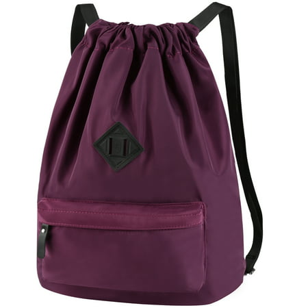 Vbiger Nylon Drawstring Sports Backpack Large Storage Gym Yoga Sackpack Shoulder Rucksack for Men and Women, Purple