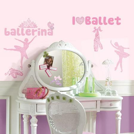 BALLET 30 BiG Wall Stickers BALLERINA Dance Room Decor Vinyl Peel 7 Stick Decals w/ Glitter