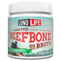 LonoLife Low-Sodium Grass-Fed Beef Bone Broth Powder with 10g Protein, 8 oz Bulk Tubs