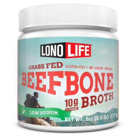 LonoLife Low-Sodium Grass-Fed Beef Bone Broth Powder with 10g Protein, 8 oz Bulk