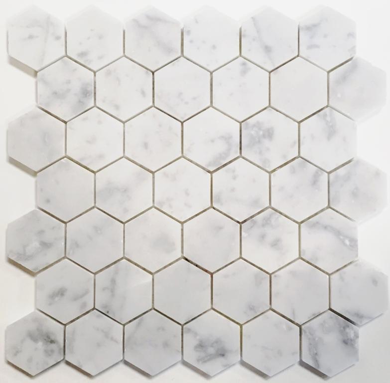 """10 Sq Ft. Of  Arabescato Carrara 2"""" Hexagon Honed"""
