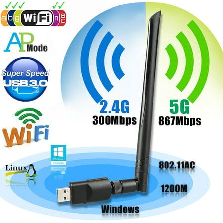USB Wifi Adapter AC1200 USB 3.0 Dual Band 2.4G/5G Mini 802.11ac Wireless Network Adapter Wi-Fi Dongle with 5dBi Antenna for Laptop Destop Windows XP/Vista/7/8/10 Mac OS X 10.4-10.14.1