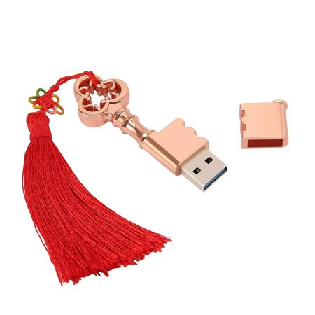 HDE USB Flash Drive 32GB Metal Key with Tassel USB 3.0 Storage Device Novelty High Speed USB Memory Victorian Steampunk Inspired Rose Gold Key (32 GB, Key w/ Tassel) ()
