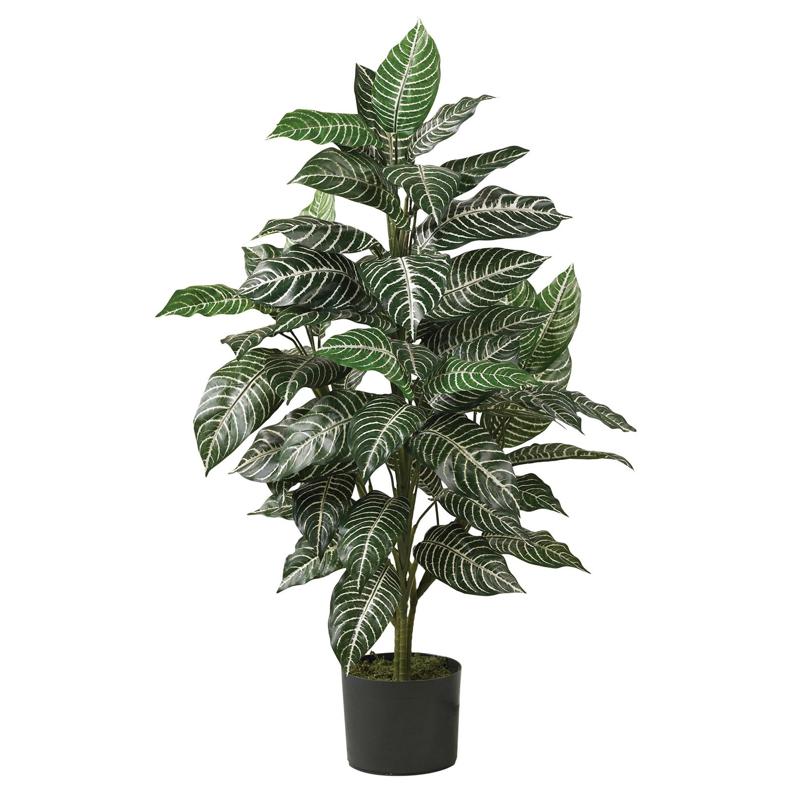 Nearly Natural 3 ft. Artificial Zebra Silk Plant, Green