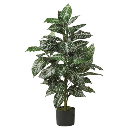 Nearly Natural 3 ft. Artificial Zebra Silk Plant, Green](Planet Decor)