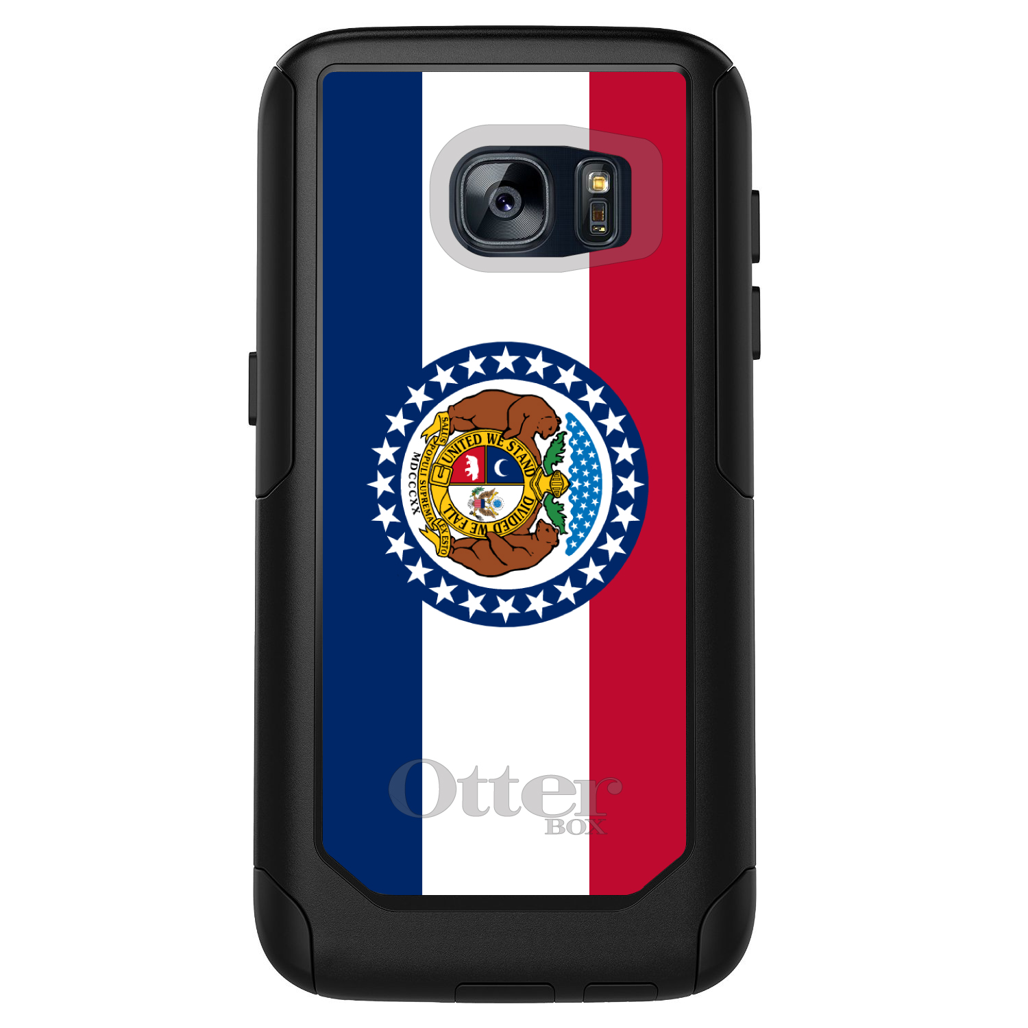 CUSTOM Black OtterBox Commuter Series Case for Samsung Galaxy S7 - Missouri State Flag