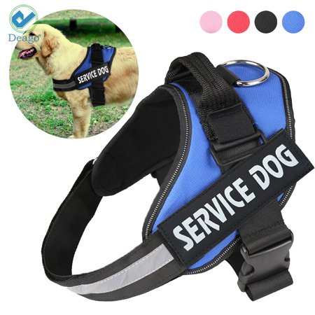 Deago No Pull Reflective Adjustable Service Dog Harness Tactical Walk Vest with Handle For Small Medium Large Dogs (Blue,
