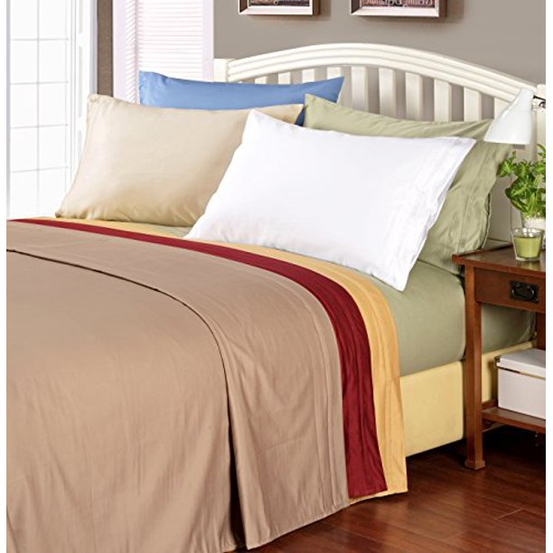 Single Ply Solid Ivory Com, 1000 Thread Count Cotton Queen Bed Sheets