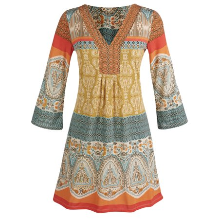 Women 39 s tunic top marrakesh orange yellow and blue - Ropa hippie moderna ...