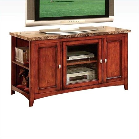 ACME Finely Faux Marble and Cherry TV Stand for Flat Screen TVs up to (Cherry 60 Flat)