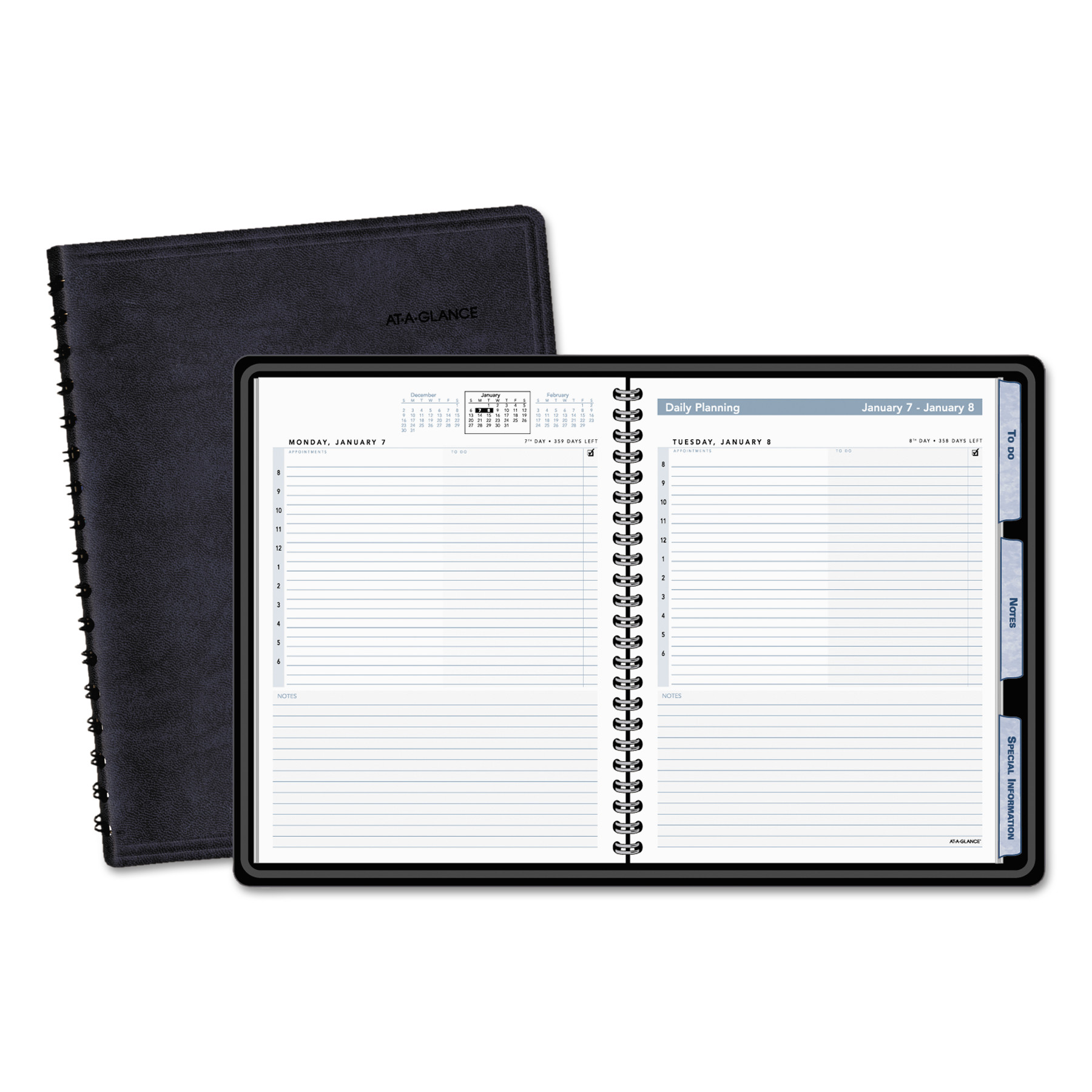 AT-A-GLANCE The Action Planner Daily Appointment Book, 6 7 8 x 8 3 4, Black, 2019 by AT-A-GLANCE
