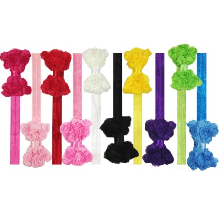 Wrapables® Set of 10 Assorted Chiffon Rosette Bow Baby Headbands](Chiffon Bows)