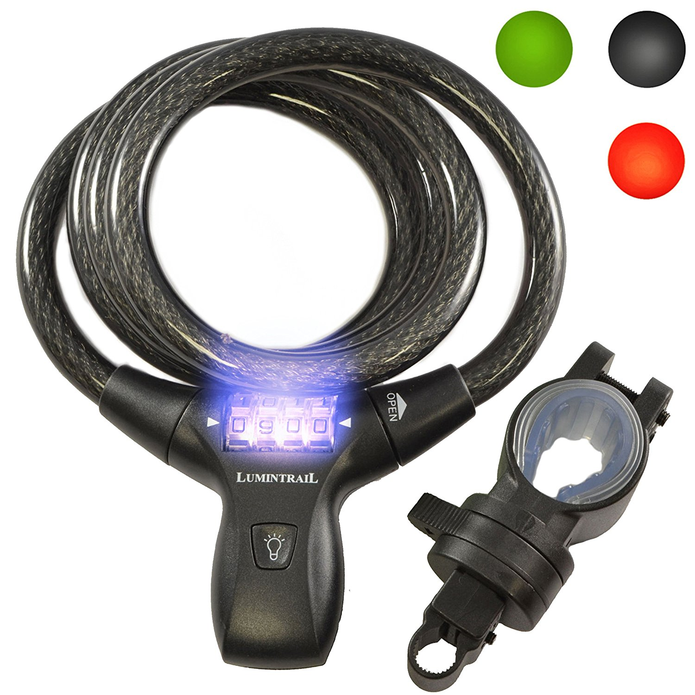 Lumintrail LK21051 Bike Combination Cable Lock w/ LED Illumination & Mounting Bracket