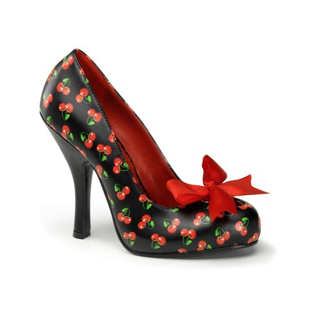 Cherry Shoe Molding (Womens Patterned Pumps Cherries or Polka Dots Red Bow 4 1/2 Inch Heel Fun)