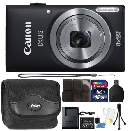 Canon IXUS 185 / ELPH 180 20MP 16x ZoomPlus Black Digital Camera with Top Accessory