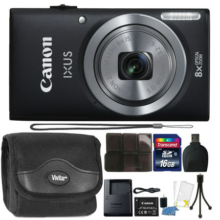 Canon IXUS 185 / ELPH 180 20MP 16x ZoomPlus Black Digital Camera with Top Accessory Bundle F10 Digital Camera