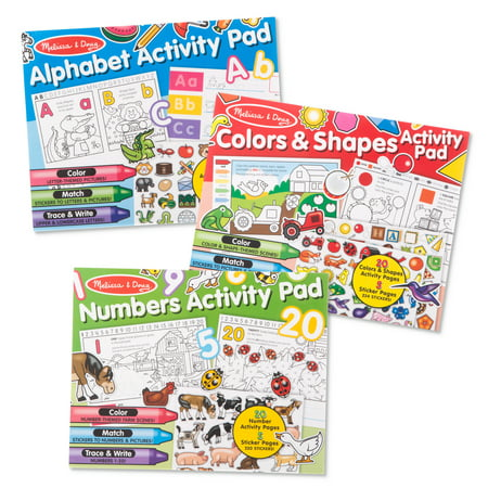 Melissa & Doug Sticker and Coloring Activity Pad 3-Pack – Alphabet, Numbers, Colors And Shapes - Melissa And Doug Coloring Book