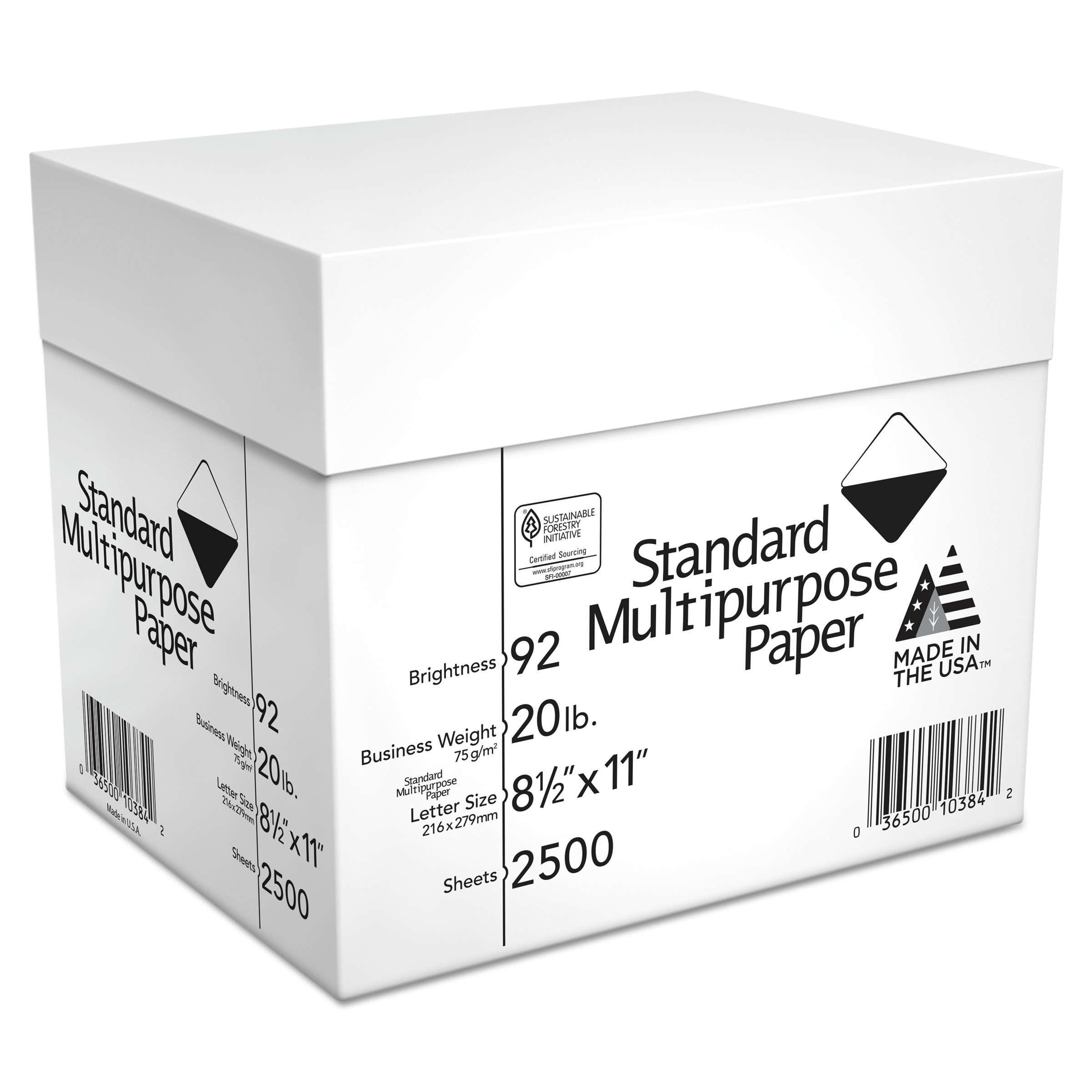Georgia Pacific Standard Multipurpose Paper, 8 1/2 x 11, 92 Bright, White, 2500 Sheets/Carton