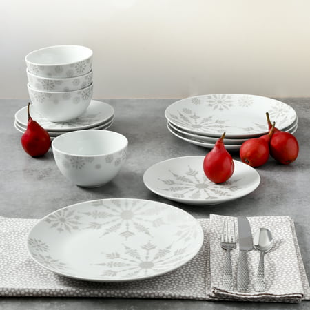 Mainstays Holiday Winter Crystal 12-Piece Dinnerware Set Holiday Entertaining Set