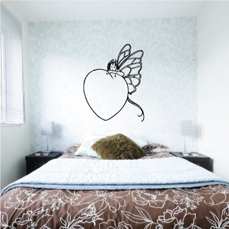 Butterfly Fairy Leaning on Heart Decal - 36 (Hearts Fairy Sticker)