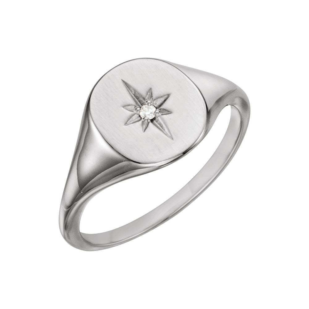 Platinum Diamond Signet Ring by
