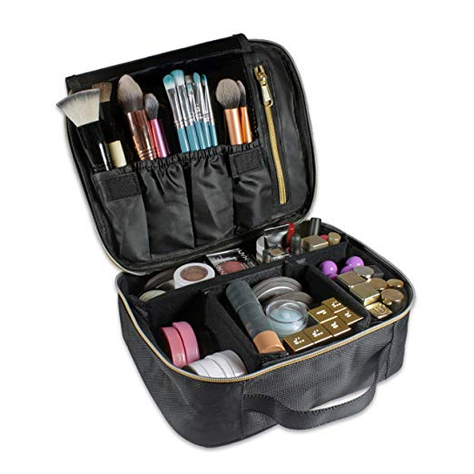 Portable Travel Makeup Train Case, Artist Storage Makeup Bag Cosmetic Case Organizer Kit with Adjustable Fastener Dividers for Cosmetics, Makeup Brushes, Jewelry or Toiletries (Jet Black)