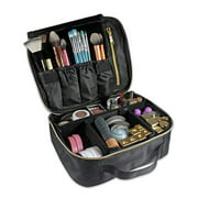 Millennial Essentials Travel Makeup Case, Adjustable Divider Makeup Bag, Black
