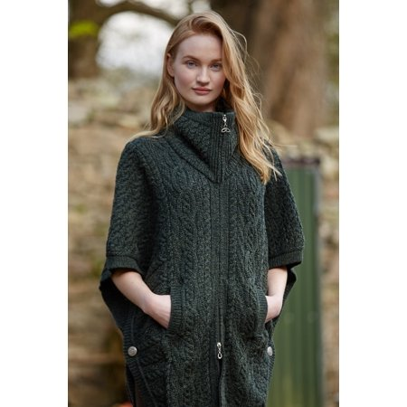 Cable Knit Wool Vest - Irish Merino Wool Batwing Aran Knit Jacket