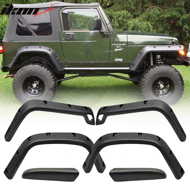 "For 97-06 Jeep Wrangler TJ 6/"" Wide Pocket Style Textured Fender Flares 6PC Set"