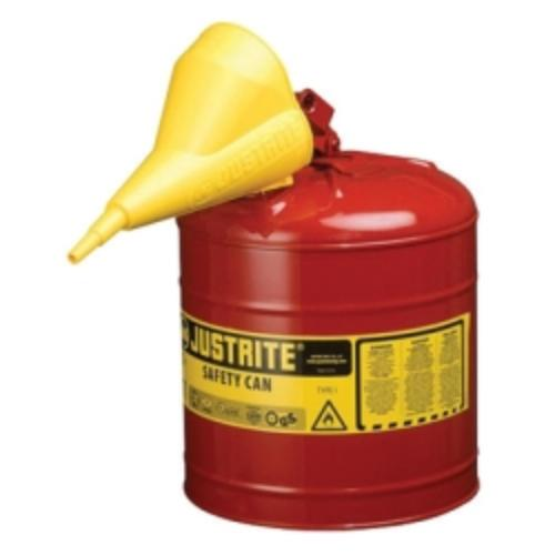 JustRite Red Metal Safety Can, Type 1, Five Gallon, With ...