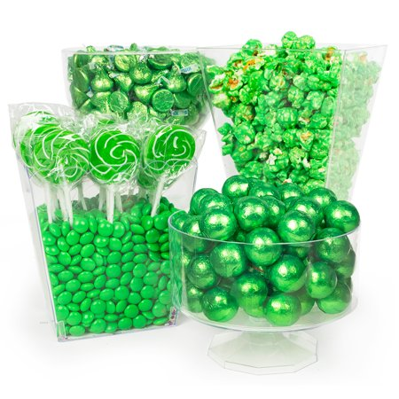 Green Candy Buffet (Green Candy Buffet - Includes Hershey's Kisses, Candy Coated Popcorn, Lollipops & More - Green Graduation Candy)