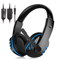 TSV Stereo Gaming Headset for PC PS4 Xbox One, Noise Cancelling Over-Ear Headphoness with Mic, Bass Surround, Soft Breathing Earmuffs Headphoness Fits for Laptop Mac Nintendo Switch