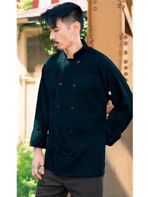 Uncommon Threads 0413-1602 5.25 oz 10 Button Classic Poplin Chef Coat, Navy Blue - Small