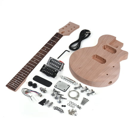 Muslady Children LP Style Unfinished DIY Electric Guitar Kit Mahogany Body & Neck Rosewood Fingerboard Double Dual-coil Pickups