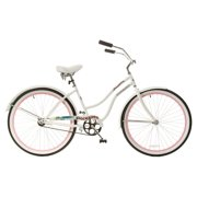 TITAN Docksider Deluxe Women's Beach Cruiser Bike, White/Hot Pink