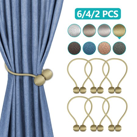 2/4/6-Pack Magnetic Curtain Tieback Decorative Rope Holdback Simple Modern Tie Backs Holders for Home Curtains, 16 Inch Long ()