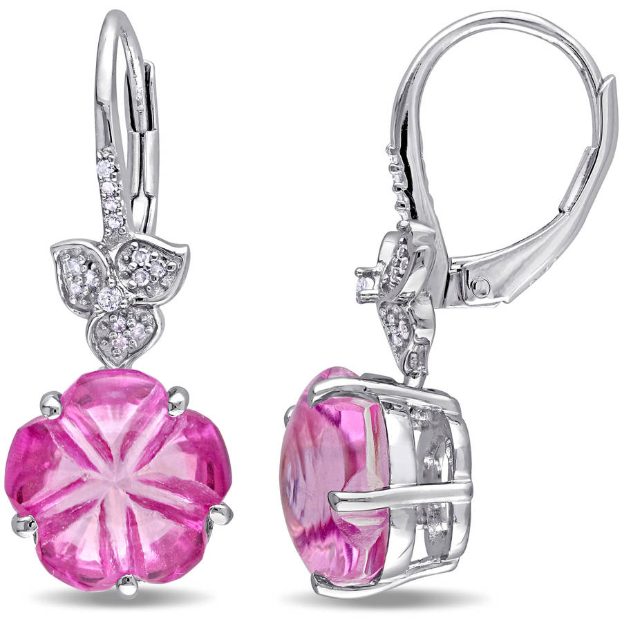 Tangelo 12-1 2 Carat T.G.W. Pink Topaz and 1 10 Carat T.W. Diamond Sterling Silver Floral Leverback Earrings by Tangelo