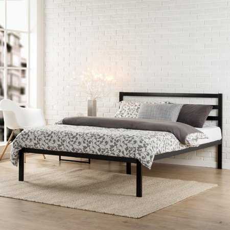 Ktaxon Bed Frame Square Horizontal Bar Head of Bed Iron Bed Queen Size Black ()