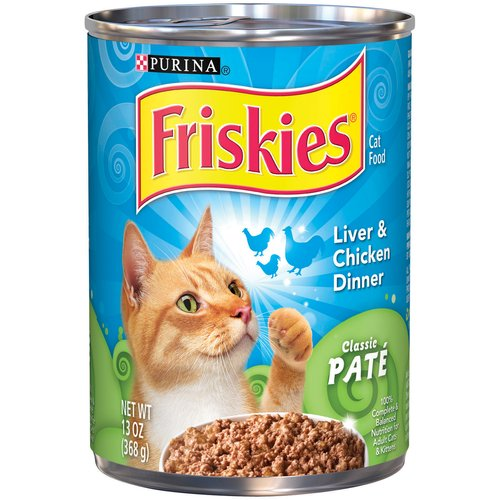 Purina Friskies Classic Pate Liver and Chicken Dinner Cat Food, 13 oz Can