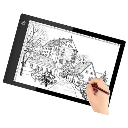 A4 Size Ultra-Thin LED Tracing Light Box Artist Stencil Board Sketching Drawing Light Pad, Stepless Adjustable Brightness